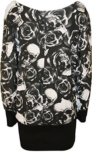 WearAll - Grande taille crâne rose noir tunique top long avec manches chauve-souris - Hauts - Femmes - Tailles 42 à 56 Noir
