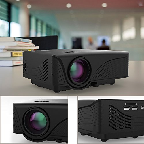 Abdtech 1200 Lumens Mini LED Multimedia Home Theater Projector - Max 120  Screen Optical Keystone USB AV SD HDMI VGA Interface - Ideal for Video Games  Movie Night  Family Videos and Pictures