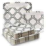 Marroquí colección papel pesado Cena y platos–Desechables cuadrado metálico plata marroquí plato vajilla–perfecto para cenas, fiestas y eventos formales (Set de 36)