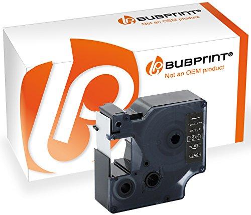 Bubprint Schriftband kompatibel für Dymo 45811 für Labelmanager 350 360D 420P 450D 500 500TS 2000 5500 Labelpoint 300 MobileLabeler Weiß auf Schwarz -