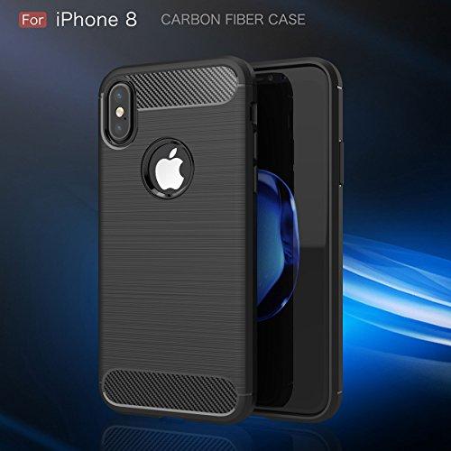 iPhone X Hülle, MOONMINI für iPhone X Kohlefaser Brushed Texture Ultra dünn Premium Weiche TPU Silikon Tasche Case Cover Anti-Kratzer Full Body Handyhülle Anti-Drop Schutzhülle Schwarz Rot
