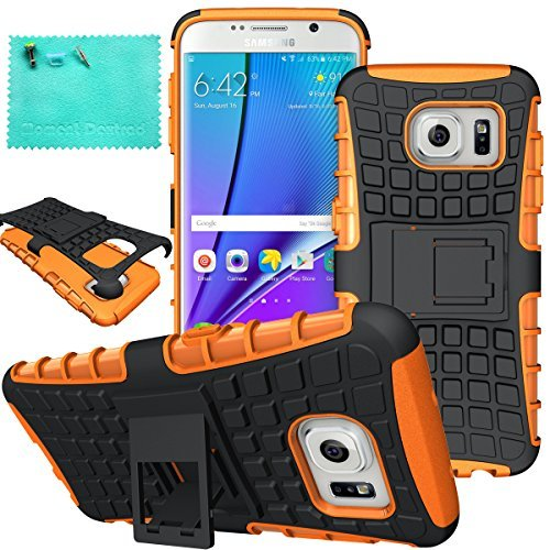 Galaxy S7Edge Fall, Samsung Galaxy S7Edge Fall, Moment dextrad Dual Layer Defender mit Ständer Schutz Case für Samsung Galaxy S7Edge (2016), Orange Samsung Super-slim