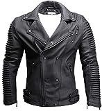 CRONE Herren Lederjacke Echtleder Premium Biker Jacke mit vielen Details und Zippern 100% echtes Schafs-Leder in 3 Farben (Matt Schwarz, L) Vergleich