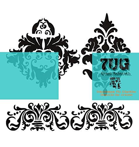 7UG Designer Schablone Shabby Chic Ornament (13 x 13 cm) f. Mixed Media Techniken