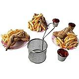 Hukz Galvanisieren Sie Edelstahl-Mini-Bratnetz-runde Block-Maschen-Küchengeräte,Zylindrischer Pommes-Korb,Imbissstand mit doppelter Tasse Pommes Stehen (B)