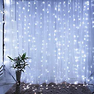 IMAGE 3Mx3M 300LEDs Solar LED Curtain Light, 8 Modes Window Curtain Icicle Lights String Fairy Lights for Christmas Wedding Party Home Bedroom Lighting Decoration, Memory Function, Cool White