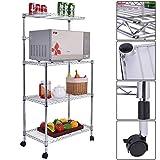 Soporte de 3 niveles para horno de cocina, microondas, para almacenamiento de carrito, estante de despensa, soporte de pie