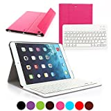 Feelka Hülle kompatibel mit iPad 9.7 2018 Schutzhülle mit Abnehmbarer Magnetischer Drahtloser Deutscher Bluethooth Tastatur QWERTZ (Pink)
