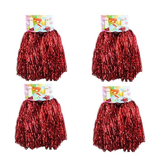 CRIVERS 8PC Cheerleading Pom Poms, Cheerleader Pompons für Ball Dance Kostüm Night Party Sports (Red, (50's Cheerleader Kostüm)