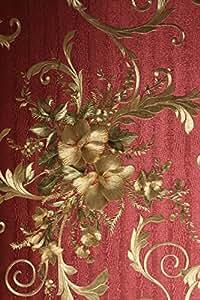 vinyltapete tapete barock retro rot gold gr n fujia. Black Bedroom Furniture Sets. Home Design Ideas