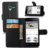 Funda Alcatel Onetouch Pixi 3 Cover, Vikoo Tapa de Cuero de La PU Case de la Cartera con Ranuras para Tarjetas Incorporadas Flip Cover para Alcatel Onetouch Pixi 3 4.5'' Smartphone Case - Negro