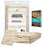 LiveFresh Unbleached Cheesecloth with 50' All-Natural Unbleached Cooking Twine and Cheesemaking Guide - Grade 50, 2.5 Yards
