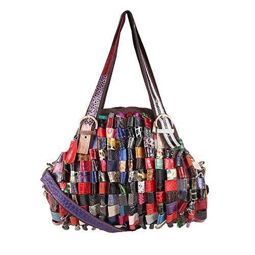 OBC ital-Design Damen Leder Tasche Lackleder Handtasche Schultertasche Shopper Henkeltasche Hobo Bag...
