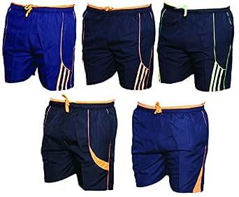 Indistar Mens Polyester Regular Fit Casual Shorts/Bermuda(Pack of 5 Shorts/Bermuda)-Blue::Black::Blue::Black-Size-38