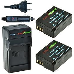 ChiliPower DMW-BLC12, DMW-BLC12E, DMW-BLC12PP Kit : 2 Batteries + Chargeur pour Panasonic Lumix DMC-FZ200/FZ300/FZ1000/FZ2000/FZ2500, DMC-G5, DMC-G6, DMC-G7, DMC-G80, DMC-G85, DMC-GH2, DMC-GX8