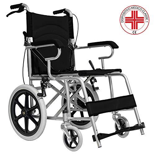 MedicalPharm® Faltbarer Kinderwagenaufsatz für freistehende Rollstuhl mit Bremshebel, Gestell aus Aluminium mit doppeltem Kreuz, Tasche für Gegenstände, 86 x 58 x 93 cm, Tragkraft 150 kg, Schwarz