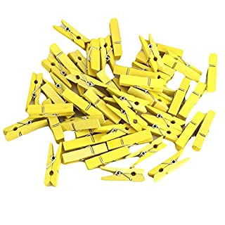 Kanggest 50Pcs Wooden Clothespins Natural Wooden Pegs 3.5cm Mini Wooden Photo Clips DIY Garden Clip Peg Craft for Wedding Christmas Party Decoration (Yellow)