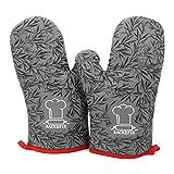 BackeFix Ofenhandschuhe hitzebeständige Backhandschuhe auch als Topflappen - Topfhandschuhe aus Baumwolle und Silikon Überzug (grau)