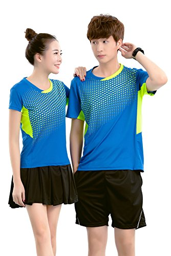 ZEVONDA Casual Sweatshirt Sommer Shorts Sets Sport Badminton Sportanzug Top +Hose Kurzarm Sportkleidung, Blau-Herren, EU L = Tag XL