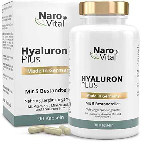 Hyaluronsäure Kapseln - 500 mg - Anti-Aging, Haut & Gelenke - 90 Kapseln - 500-700 kDa, Vitamin B2, Zink, Selen & Vitamin C - 3 Monatsvorrat - Vegan - Hyaluron Plus
