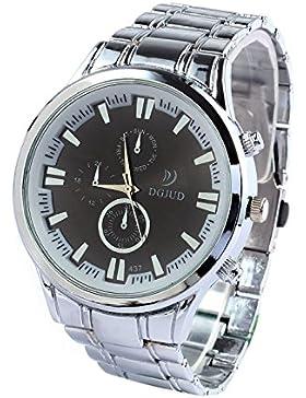 SODIAL (R) Legierung runde Analoge Quarz-Armbanduhr (Silber Armband & schwarz Zifferblatt)
