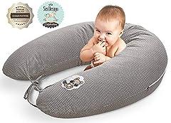 Idea Regalo - Qualità bambino cuscino gravidanza di cura di Sei Design 170 x 30cm, riempimento costituito da fiocchi di fibre - molto morbido e confortevole. Coprire con zip e ricamo di alta qualità. (Tempera procione, Riempimento : fiocchi di fibre)