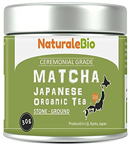 Organic Matcha Green Tea Powder [Ceremonial Grade] | Organic Japanese Tea Produced in Uji, Kyoto | Ideal for Drinking, Cooking and with Milk | 30 gr Tin |