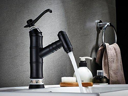 Mkkwp Ziehen Sie Waschbecken Armaturen Küchenarmaturen Einloch Badezimmerhähne Schwarz Waschbecken Wasserhahn Diamond Am Griff Wasser Mixer (Einfach Am Griff Ziehen)