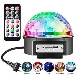 LED Discokugel Party Licht Partybeleuchtung, Chenci Stimmungslicht mit USB-Stick 9 Farbe 4 Steuermodi Disco Glühbirne sprachsteuerte Partylicht mit Fernbedienung, Halterung, Batterie Kinder (18W)