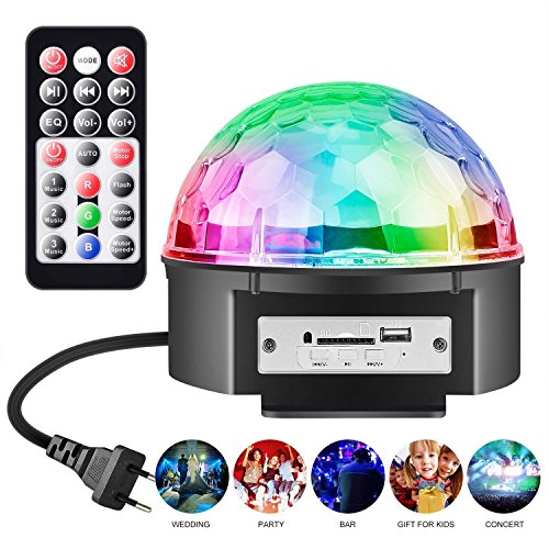 LED Discokugel Party Licht Partybeleuchtung, Chenci Stimmungslicht mit USB-Stick 9 Farbe 4 Steuermodi Disco Glühbirne sprachsteuerte Partylicht mit Fernbedienung, Halterung, Batterie Kinder (18W) (Halloween-party Licht Alternative)