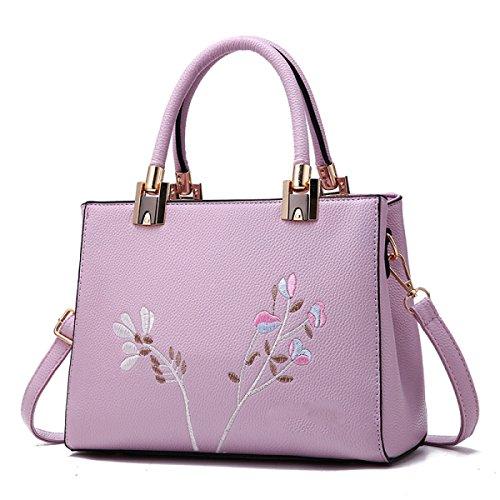 Handtaschen Mit Stickerei EaseGave Exquisite Blume Vegan Leder Schultertaschen Für Frauen Handtasche Clear