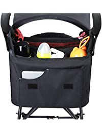 XGUO All In 1 Stroller Organizer, Baby Diaper Changing Mat Bag With Deeper Insulated Cup Holders, Adjustable Shoulder...