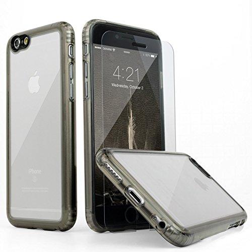 iPhone 6 Hülle, (Clear Grau) SaharaCase® + [ZeroDamage gehärtetes Glas Bildschirmschutz] Schutz Kit Paket mit Null Schaden Robuster Schutz Anti-Rutsch-Griffigkeit [Stoß sicherer Puffer] Schlanke Passform (Iphone 6 Att 16gb Verwendet)