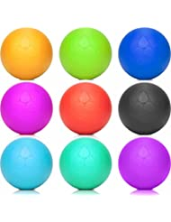 Bola de Lacrosse »Lio« (6 cm de diámetro) en varios colores, para masajear los puntos gatillo. Bola de masaje / rodillo de masaje ideal para tratar tensiones y contracturas puntuales, como en el entrenamiento de las fascias (rodillo para fascias): rojo