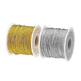 BTNOW 2 bobina 198 M Cable de espumillón cable metálico cadena para hacer, dorado y plateado