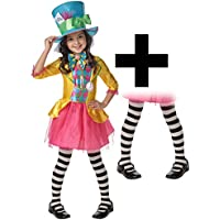 Mad Hatter Girls Fancy Dress World Book Day Wonderland Childrens Disney Costume & Tights