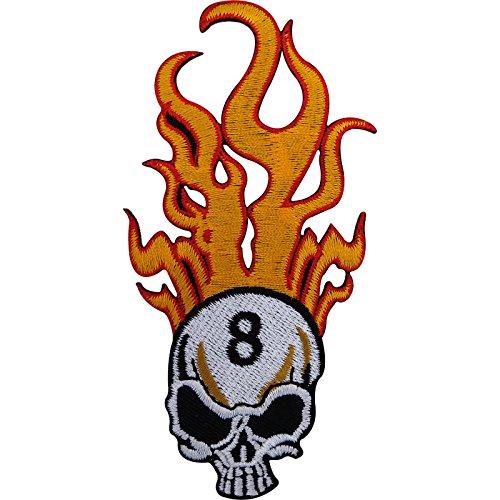 Biker Badge Eisen auf Patch/Sew On bestickt Lucky Number 8Fire Flaming Skull