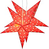 2er Pack BRUBAKER Falt Weihnachtssterne mit je 10 LED, 60 cm Ø, Rot