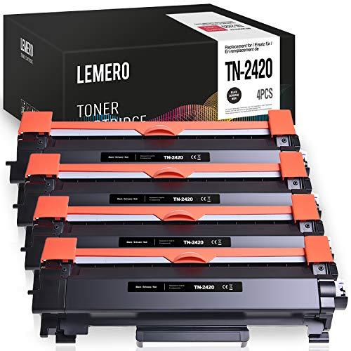 4 LEMERO Compatibile Brother TN-2420 TN2420 TN2410 [con Chip] Cartucce di toner per HL-L2310D HL-L2350DN HL-L2370DN HL-L2375DW MFC-L2710DN MFC-L2710DW MFC-L2730DW MFC-L2750DW DCP-L2510D DCP-L2530DW