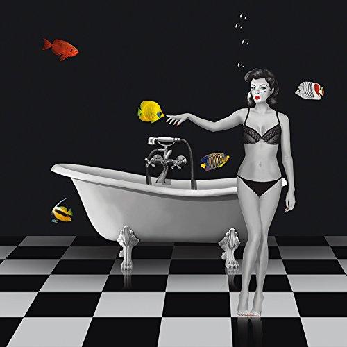 Artland Wandbilder selbstklebend aus Vliesstoff oder Vinyl-Folie Mausopardia Ein Badezimmer für Fische Menschen Frau Mixed Media Schwarz/Weiß D3QE (Schwarze Menschen Bilder)