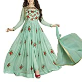 Ethnic Empire Women's Georgette Semi Stitched Anarkali Salwar Suits (Eed-Ea10215_Green_Free Size)