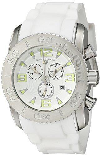 SWISS LEGEND 10067-02 - Reloj para hombres, correa de goma color blanco