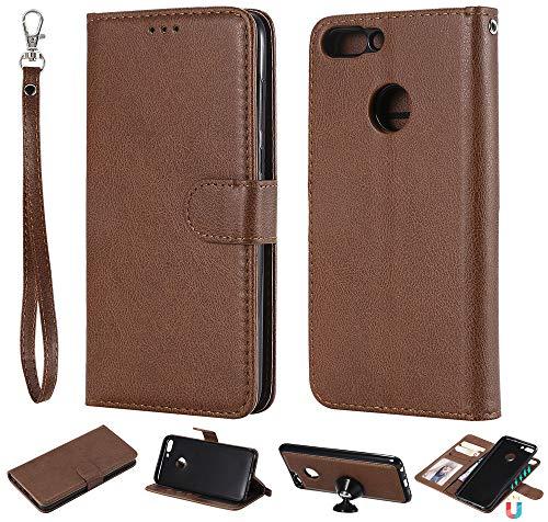 Ooboom 2in1 Hülle für Huawei P Smart/Honor 9 Lite, Magnetische Abnehmbare Flip Folio PU Leder Schutzhülle Tasche Buchstil Case Cover Wallet Kickstand mit Kartenfächer Trageschlaufe - Braun