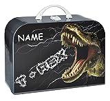 Kinderkoffer Dinosaurier Dino - mit Namen - Groß - Puppenkoffer Koffer Reisekoffer aus Pappe - für Jungen Tyrannosaurus Rex T-Rex