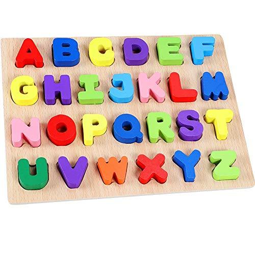 Lewo Holz Alphabet Puzzle Board ABC Buchstaben Lernspielzeug für Kleinkinder und Kinder (Buchstaben Holz Abc)