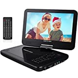 """DBPOWER® 10.5"""" Portable DVD Player, 5 Hour Rechargeable Battery, Swivel Screen, Supports SD Card and USB, Direct Play in Formats AVI/RMVB/MP3/JPEG (10.5, Black)"""