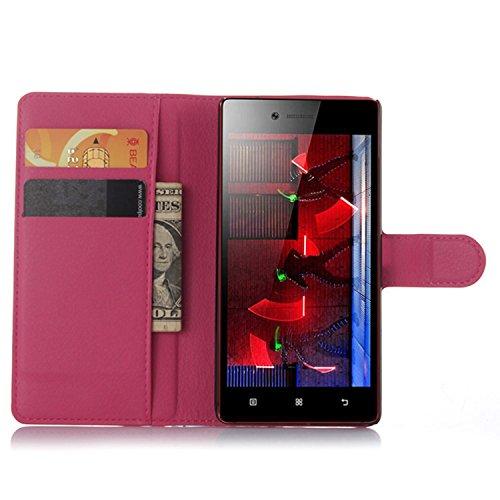 Tasche für Lenovo Vibe Shot Z90-7 Hülle, Ycloud PU Ledertasche Flip Cover Wallet Case Handyhülle mit Stand Function Credit Card Slots Bookstyle Purse Design Rose Red