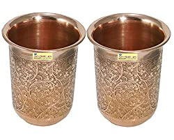 SHIV SHAKTI ARTS Handmade Pure Copper Set Of 2 Embossed Glass Tumbler Volume - 200 ml