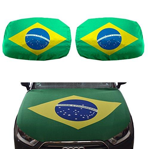Sonia Originelli Fan-Paket-15 Auto WM Länder Fußball Motorhaube Außenspiegel Flagge Farbe Brasilien -