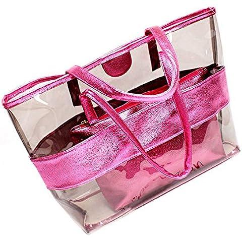 Borsa trasparente grande Tote Bag Jelly Candy colore PVC estate (Stripes Pouch)